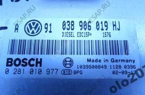 VW GOLF IV 1.9TDI ASZ БЛОК УПРАВЛЕНИЯ ДВИГАТЕЛЕМ 038906019HJ